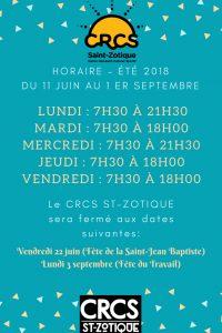 CRCS Horaire d'Été 2018