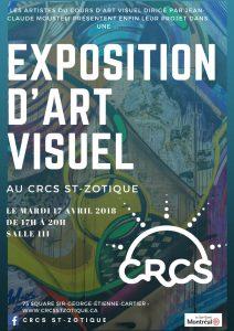 Grande Exposition d'Art Visuel au CRCS ST-ZOTIQUE le 17 avril prochain! Et c'est gratuit!! Amenez vos enfants, vos amis, votre famille et passez un bon moment haut en couleur!