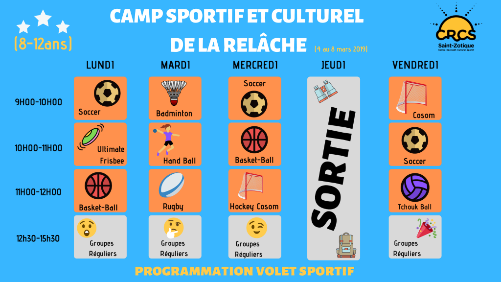 Programmation Sports (8-12ans)